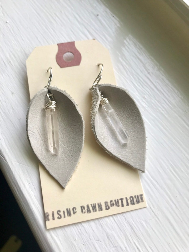 Lether and freshwater pearl earrings calla lily earrings image 0