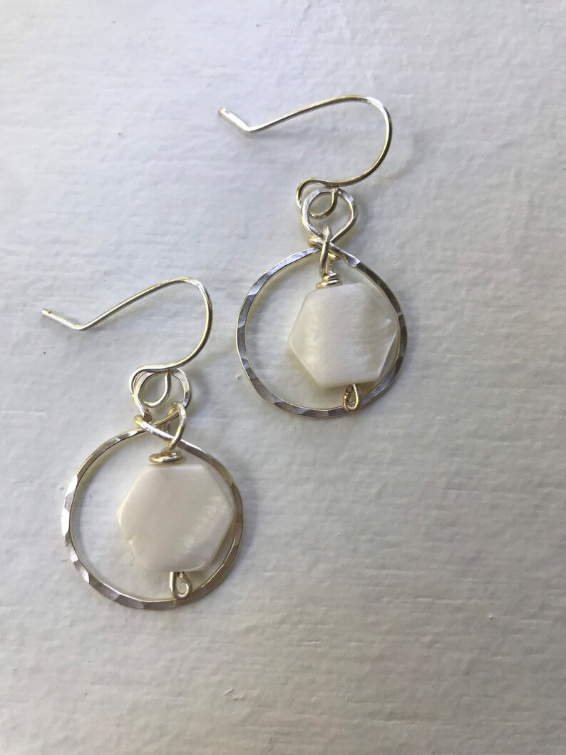 Silver hammered hoops with mother of pearl hexagons image 0