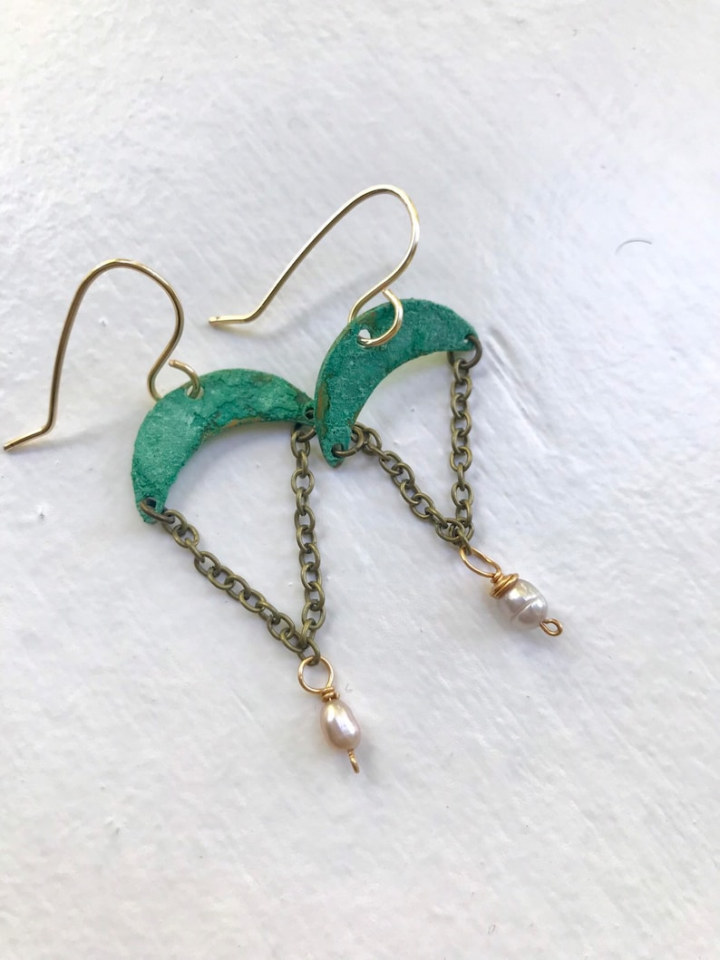 Verde copper crescent moon with a freshwater pearl dangle one image 0