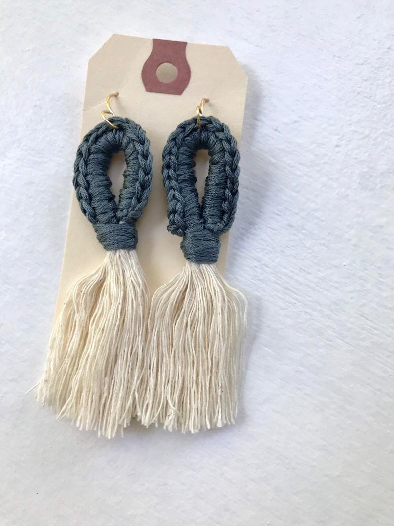 Macrame earrings  blue gray macrame earrings  fringe image 0