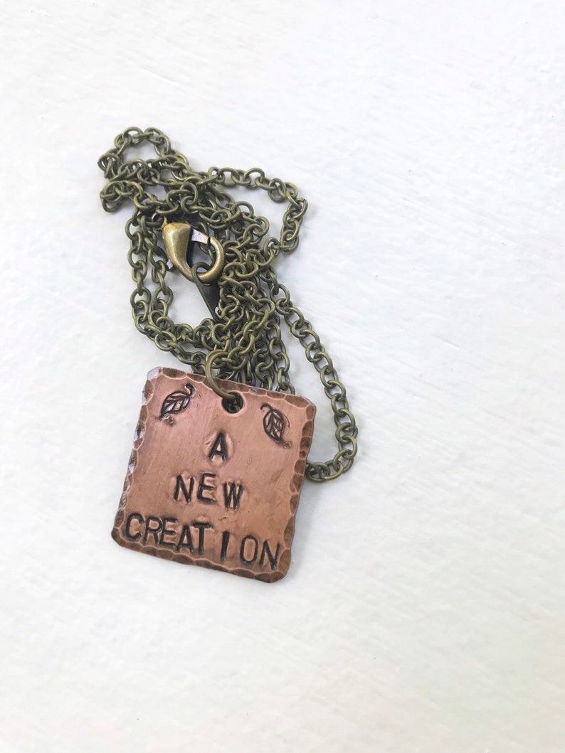 Handstamped copper necklace a new creation image 0