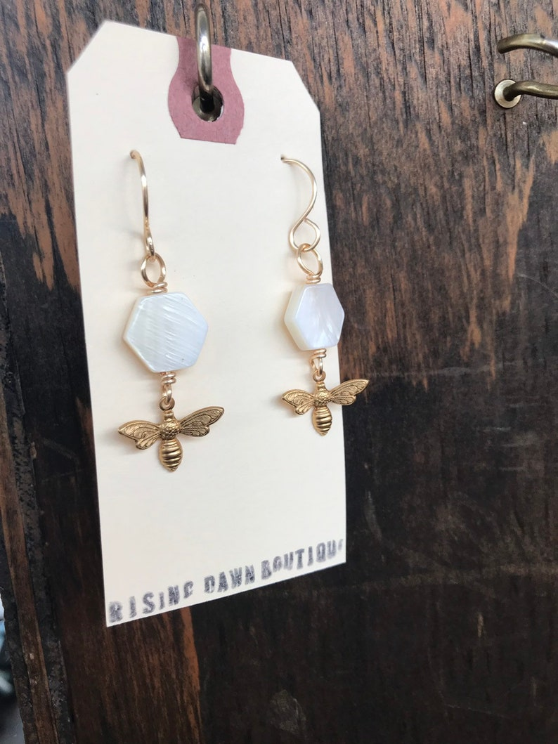 Mother of pearl hexagons with gold honey bees image 0