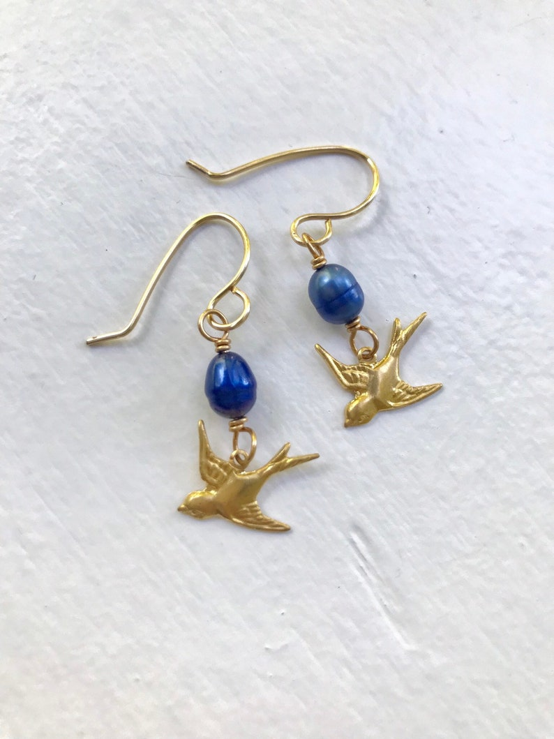 Blue freshwater pearl and bronze sparrow earrings image 0