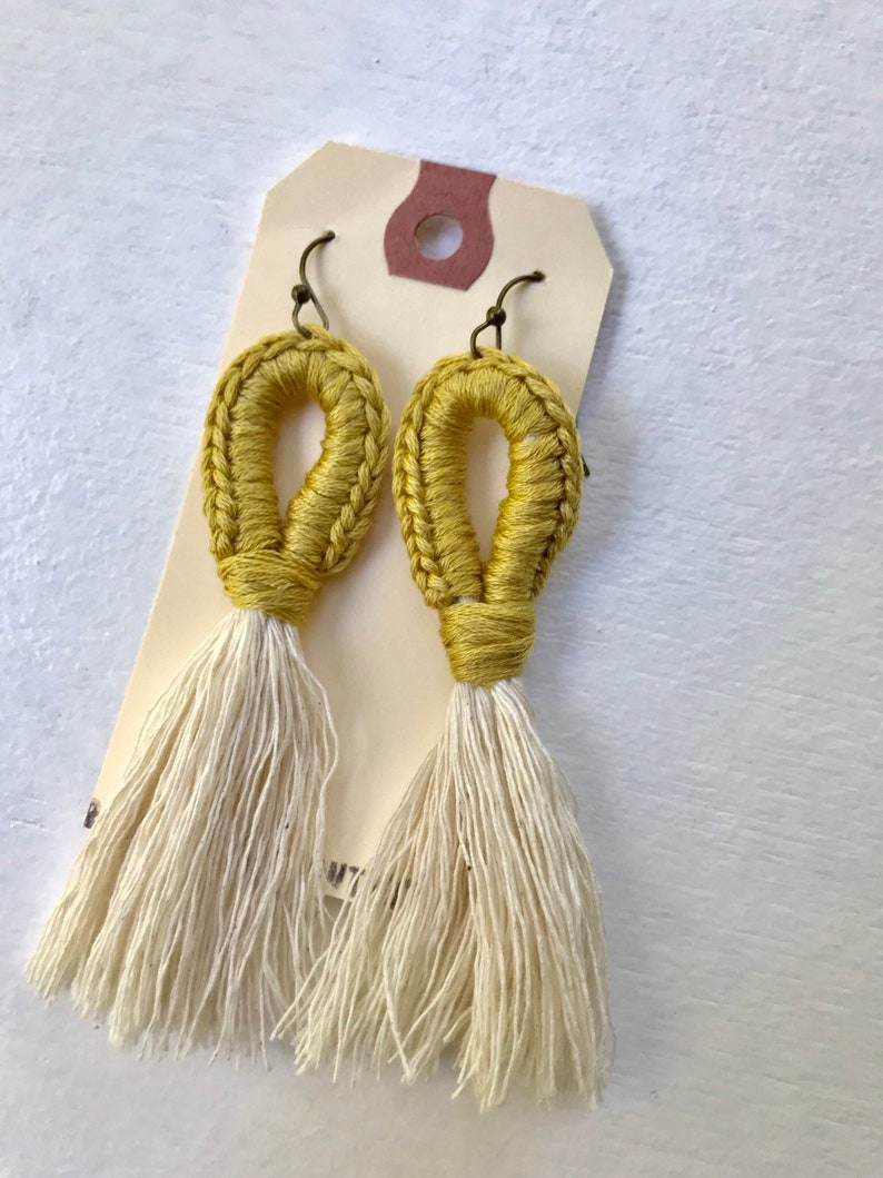 Macrame earrings  citrine macrame earrings  fringe earrings image 0