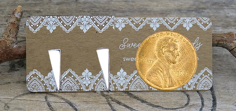 Minimalist Geometric Earrings Minimalist Jewelry Gift Boxed Sterling Silver Long Triangle Earrings Spike Earrings P107