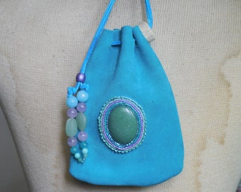 Beaded Green Abalone Shell Turquoise Blue Suede Leather Pouch with Agate Blue Quartzite Extra Large Size 16.5 x 11.5 cm. 6 12 x 4 12