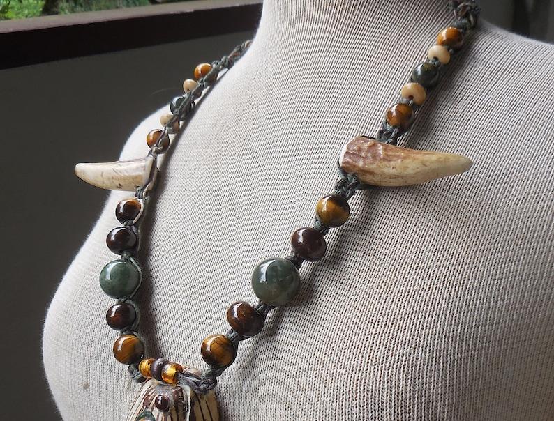 Tiger Eye Tagua Nut Green Brown Hemp Stash Necklace with Moss Agate Tiger Eye Jade Semiprecious Stone Beads Antler Tips Adjustable Length
