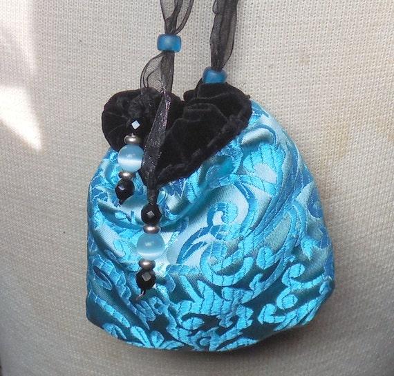 """Réversible en velours noir, pochette en brocart Bleu Turquoise de taille moyenne 10 x 9.5 cm. (4 """"x 3 3/4"""") OlyTeam"""
