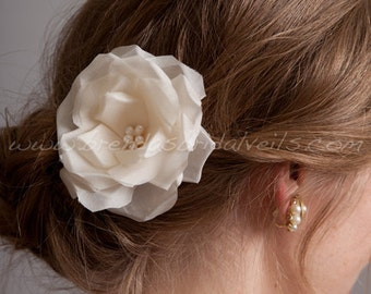 Bridal Hair Flower, Hand Pressed Silk Rose, Birdcage Veil Fascinator - Danica