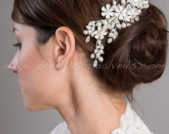 Bridal Hair Comb, Rhinestone Wedding Headpiece, Bridal Hair Piece, Ivory Pearl and Rhinestone Fascinator, Wedding Hair Accessory - Joanna