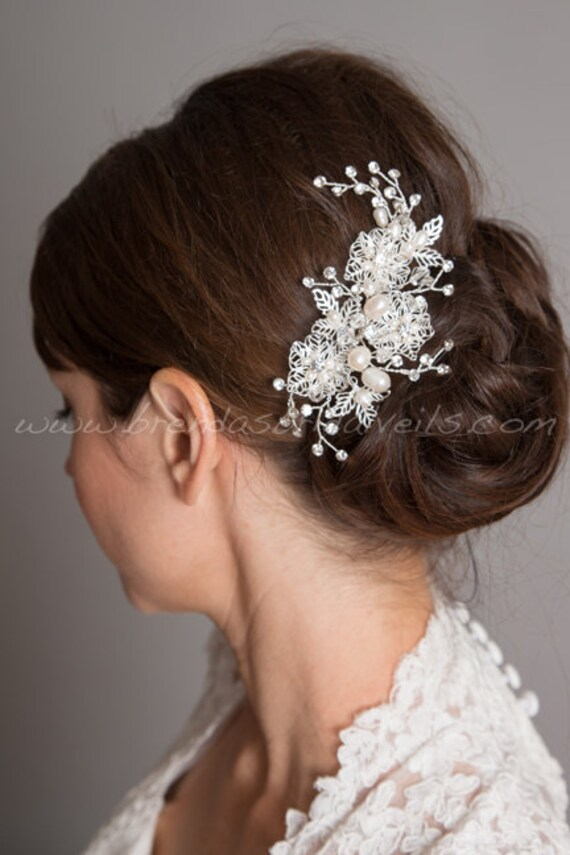 Bridal Hair Comb Wedding Hair Accessories Bridal Headpieces Rhinestone Hair Comb Wedding Hair Comb Navy Blue White Ivory Bridal Pearl Comb