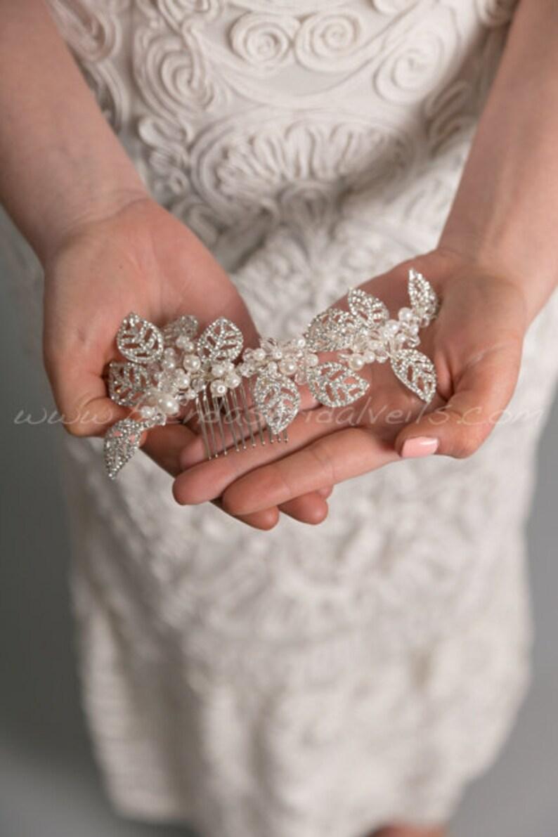Lorna Rhinestone Bridal Hair Vine Rhinestone Leaf Headpiece Wedding Hair Comb Rhinestone and Pearl Hair Comb