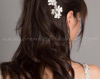 Bridal Rhinestone Hair Comb, Wedding Pearl Comb, Porcelain Flower Headpiece - Kelcee