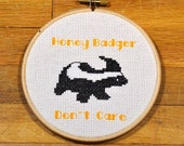 Honey Badger Don't Care - easy cross stitch pattern, PDF *instant download*