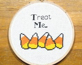 "Candy Corn ""Treat Me"" - easy cross stitch pattern, PDF *instant download*"