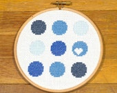 Blue Circles with Heart - easy cross stitch pattern, PDF *instant download*