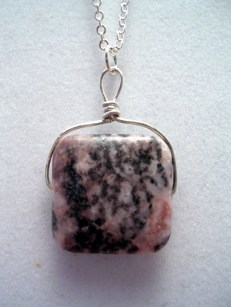 Rhodonite Pendant with Knotted Bail image 0