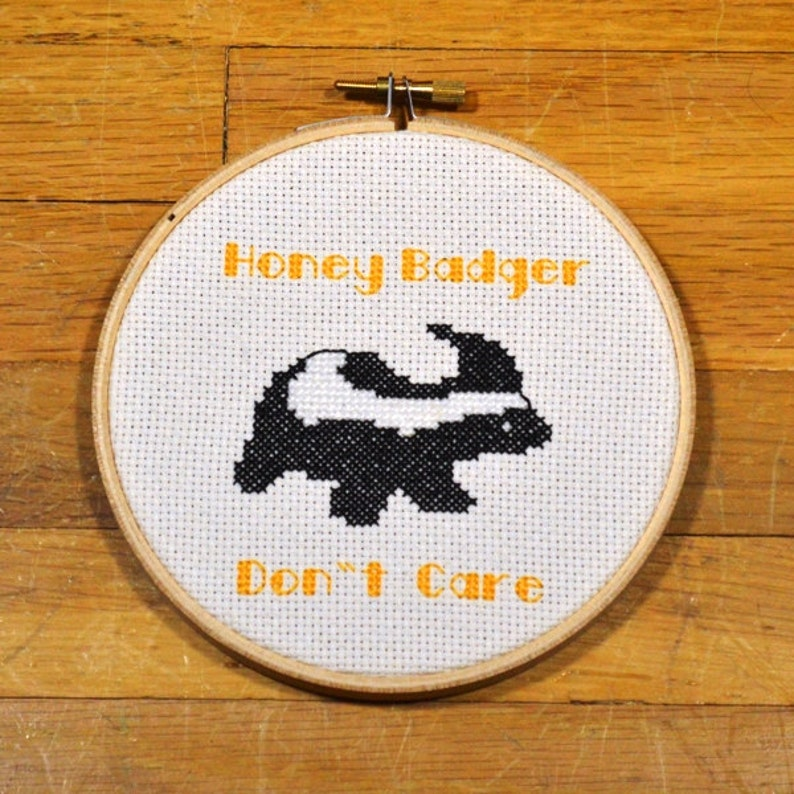 Honey Badger Don't Care  easy cross stitch pattern PDF image 0