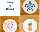 Thinking of Hawaii - 3 pattern set Sea Turtle, Hibiscus & Pineapple - easy cross stitch pattern, PDF *instant download*