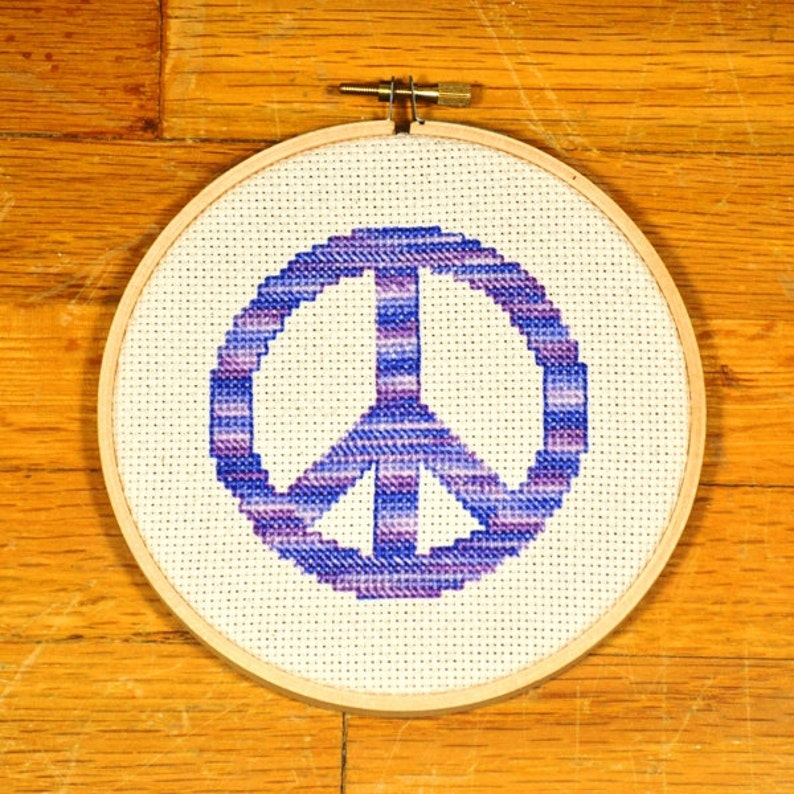 Peace Sign  easy cross stitch pattern PDF  instant image 0