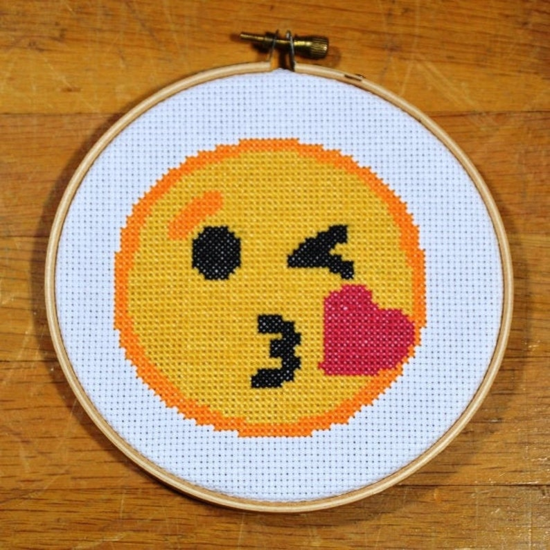 Blowing Kiss Emoji  easy cross stitch pattern PDF instant image 0