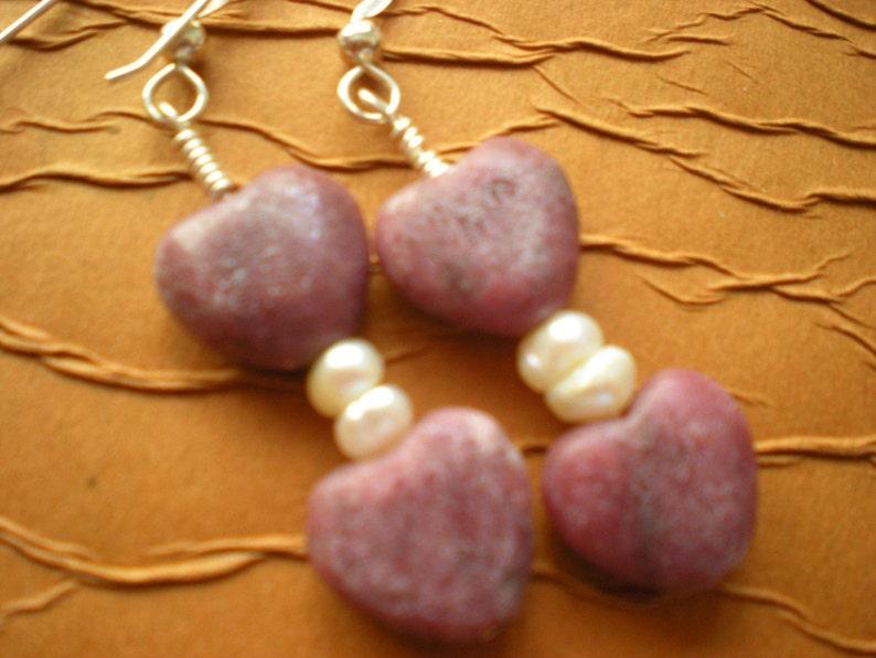 The Heart of the Matter  Rhodonite Heart Earrings image 0