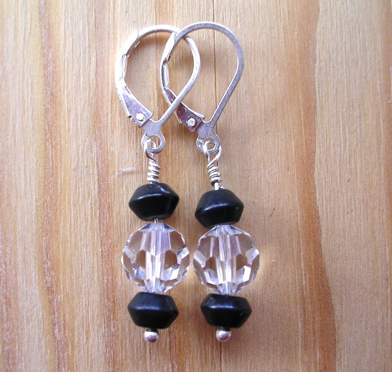 Tuxedo Earrings  Blackstone and Swarovski Crystal image 0