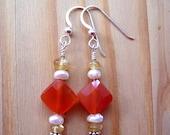 Orange Carnelian Diamond Earrings