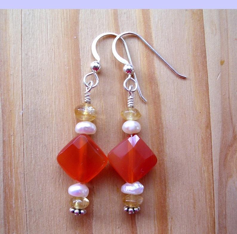 Orange Carnelian Diamond Earrings image 0