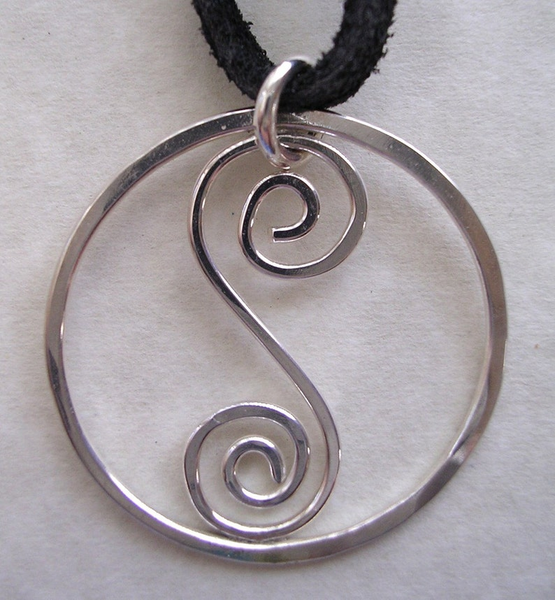 Spiral S Pendant on Leather Cord image 0