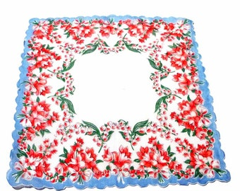1950s Red Blue Flower Bouquets Handkerchief Ring of Blooms Green Leaves Blue Floral Tile Center White Background  Scalloped Hem