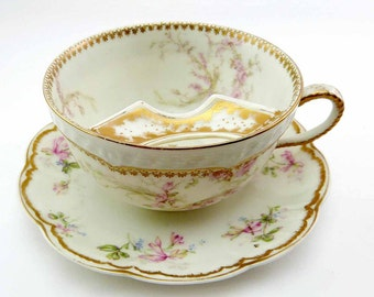 1880s Gentleman's French Limoges Porcelain Mustache Guard Tea Cup Saucer Set Haviland & Co France Pink Roses Gold Accents