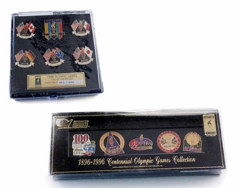 Two MINT Olympic Games Collector's Pin Sets 1896 - 1996 Atlanta Centennial Games WELCOME Countries Collection Imprinted Products Corp