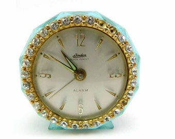 Baby Blue LUCITE Linden Black Forest Round Alarm Clock Clear Rhinestone Crystals Atomic Style Made in Western Germany Mid Century Kitsch