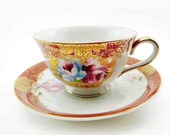 Vintage Early MK Pedestal Rose Basket Tea Cup & Saucer Set with Red and Gold Moriage Hand Painted Made in Japan High Tea Chippy