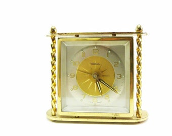 Waltham Small Mantel or Desk Brass Alarm Clock Made in Germany Mid Century Twisted Columns Atomic Style Face Early Mid 1950s German Movement