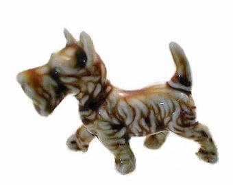 1940s Feisty Scottie  Dog TERRIER Dime Store Penny Figurine in Porcelain