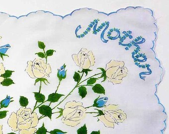 Mid Century Blue & White Rose Bouquet MOTHER Handkerchief Green Leaves Blue Trim Scalloped Edge White Background