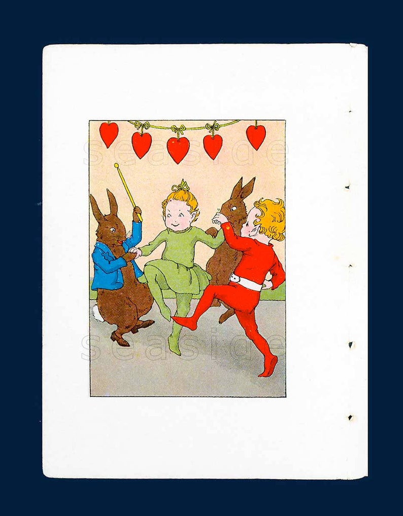 Cutting the Rug Wee Folk Rabbits Celebrate Mid 1930s Children/'s Book Litho Book Art Elves Party Valentines Hearts 1st Edition Book Art Print