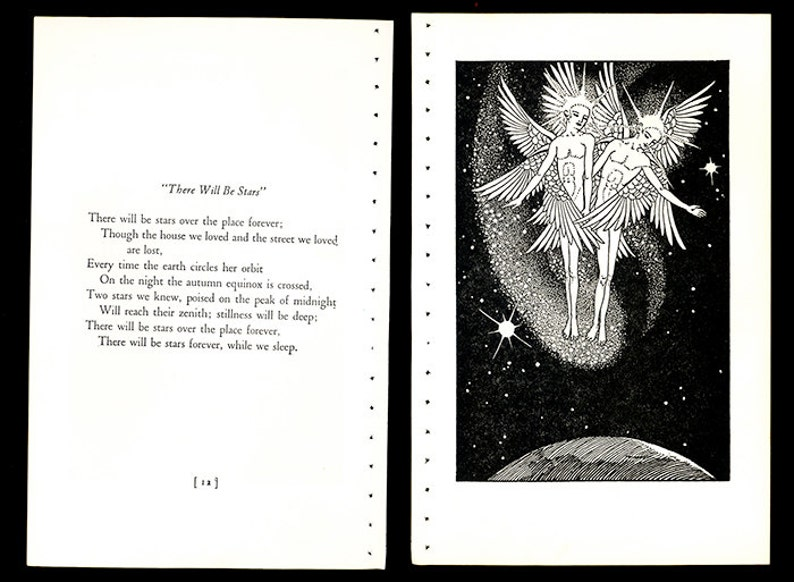 Lathrop 1st Caldecott Medal Winner w Poem Celestrial Angels Above the Earth There Will Be STARS 1930s Book Art Illustration by Dorothy P