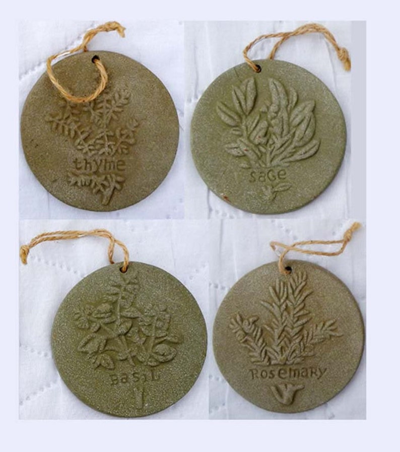 5 Vintage Herbal Garden Cement Markers /& Time to Plant Sundial Hanging Ornaments Cottage Chic Herb Garden Lover Thyme Sage Rosemary Basil