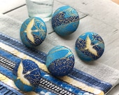 Handmade Fabric Button Japanese Oriental Dark Light Blue Gold Origami Bird Fabric Covered Buttons Origami Bird Fridge Magnets, 1.1 quot 5 39 s