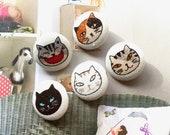Handmade Kawaii Beige Off White Black Grey Funny Kitten Cat Animal Fabric Button, Cats Animal Fridge Magnets, Flat Backs, 1.1 Inches 5 39 s