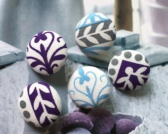 Handmade Small Orange Green Black White Geometric Ethnic Aztec Fabric Covered Buttons,Ethnic Fridge Magnets 0.8 6/'s Flat Backs