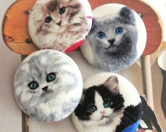 Cat Buttons 1.25 Inches 4/'s Handmade Large Kawaii Off White Black Cartoon Cat Kitten Fabric Covered Buttons Fridge Magnets