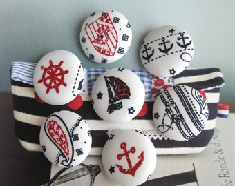 """Handmade Nautical Marine Navy Blue Red White Boat Anchor Ship Fabric Covered Buttons, Nautical Ship Boat Fridge Magnets, Flat Back, 1.2"""" 7's"""