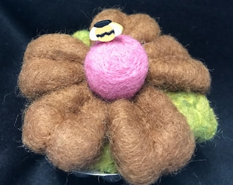 Pincushion--Chocolate daisy needle felted pin cushion---great for quilters