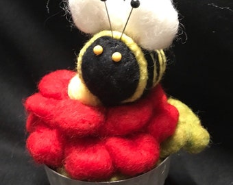 Pincushion--Bumble Bee on Happy Red Flower---quilter gift