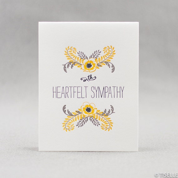 Letterpress Sympathy Card, With Heartfelt Sympathy