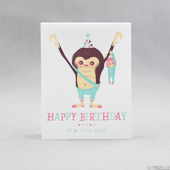 Letterpress Birthday Card, My Little Beast (girl)